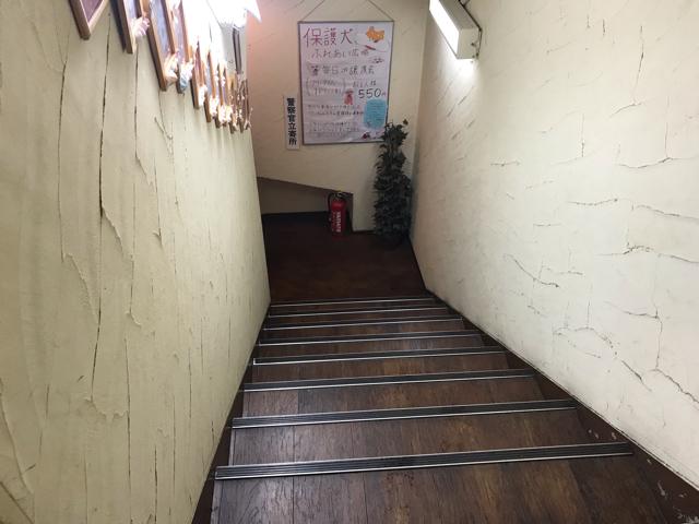 保護犬パーク長居店入口階段