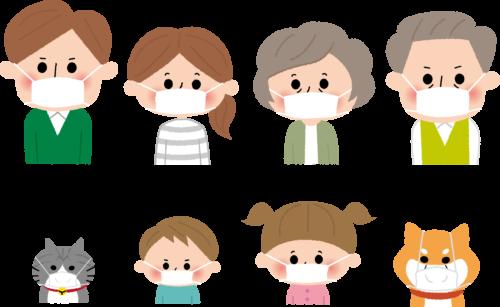 マスクをつけている家族のイラスト